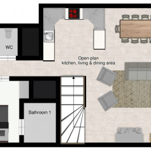 Floor plans of the ski-in ski-out chalet Camarine in St Martin de Belleville