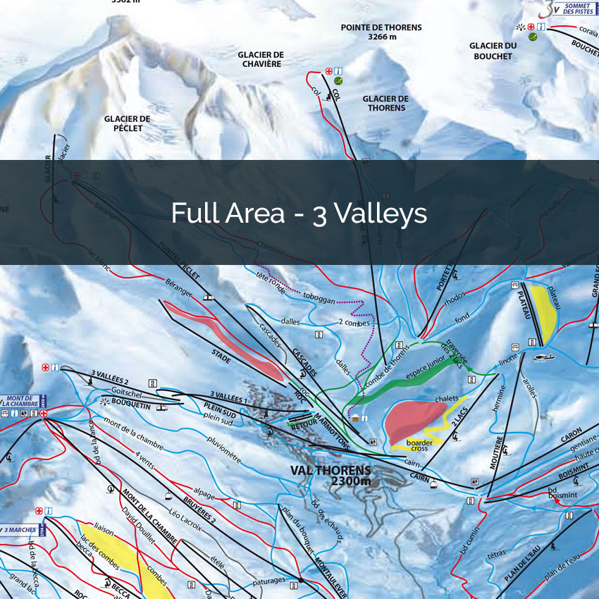 Three Valleys Piste Map, Full area piste map 3 Valleys