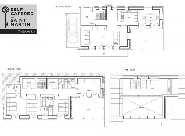 Floorplans of self-catered chalet with hot tub - 3 Valleys