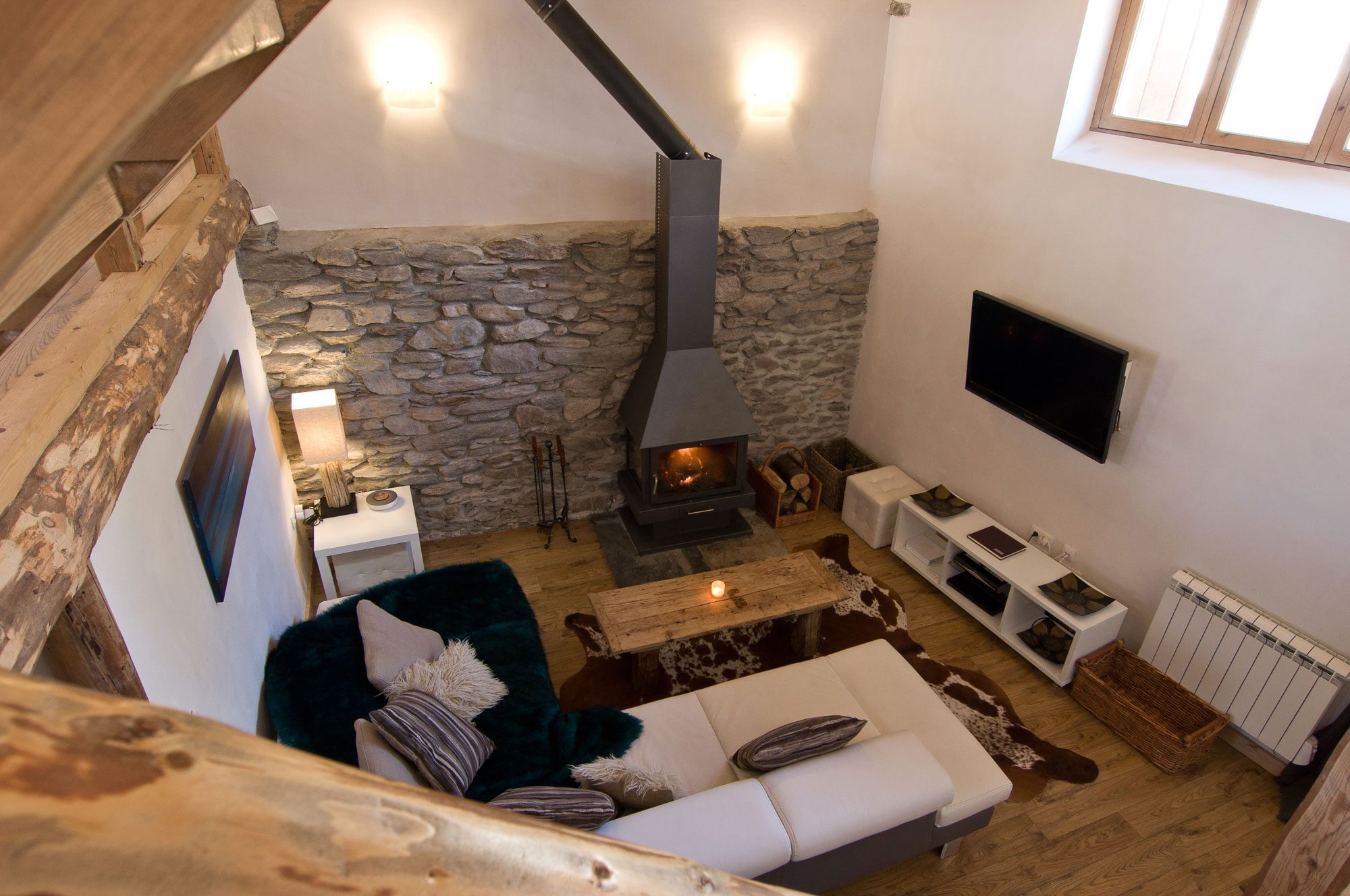 Chalet Ann lounge with log fire | Chalet in St Martin de Belleville
