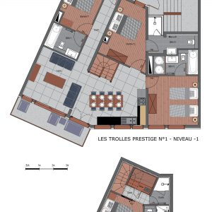 Floor plans of the Prestige N1 ski apartment in the 3 Valleys