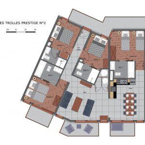 Floor plans of Prestige apartment N2 in Saint Martin de Belleville