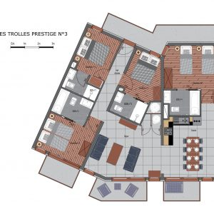 Floor plans of luxury apartment Prestige N3 in Saint Martin