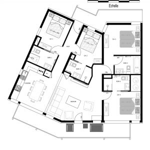 Floor plans of ski apartment Prestige N4 in the Three Valleys