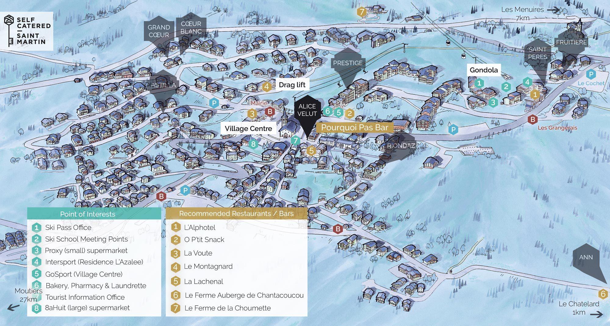 Chalet Alice Velut in St Martin de Belleville | Resort Map | Self Catered - Saint Martin