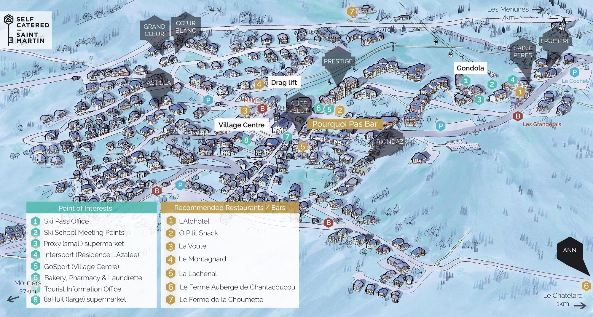 Chalet Ann in St Martin de Belleville | Resort Map | Self Catered - Saint Martin