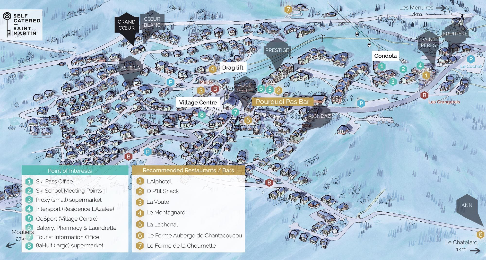 Chalet Le Grand Coeur in St Martin de Belleville | Resort Map | Self Catered - Saint Martin