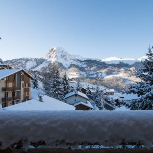 Breathtaking mountain views from Chalet Astilla's balcony