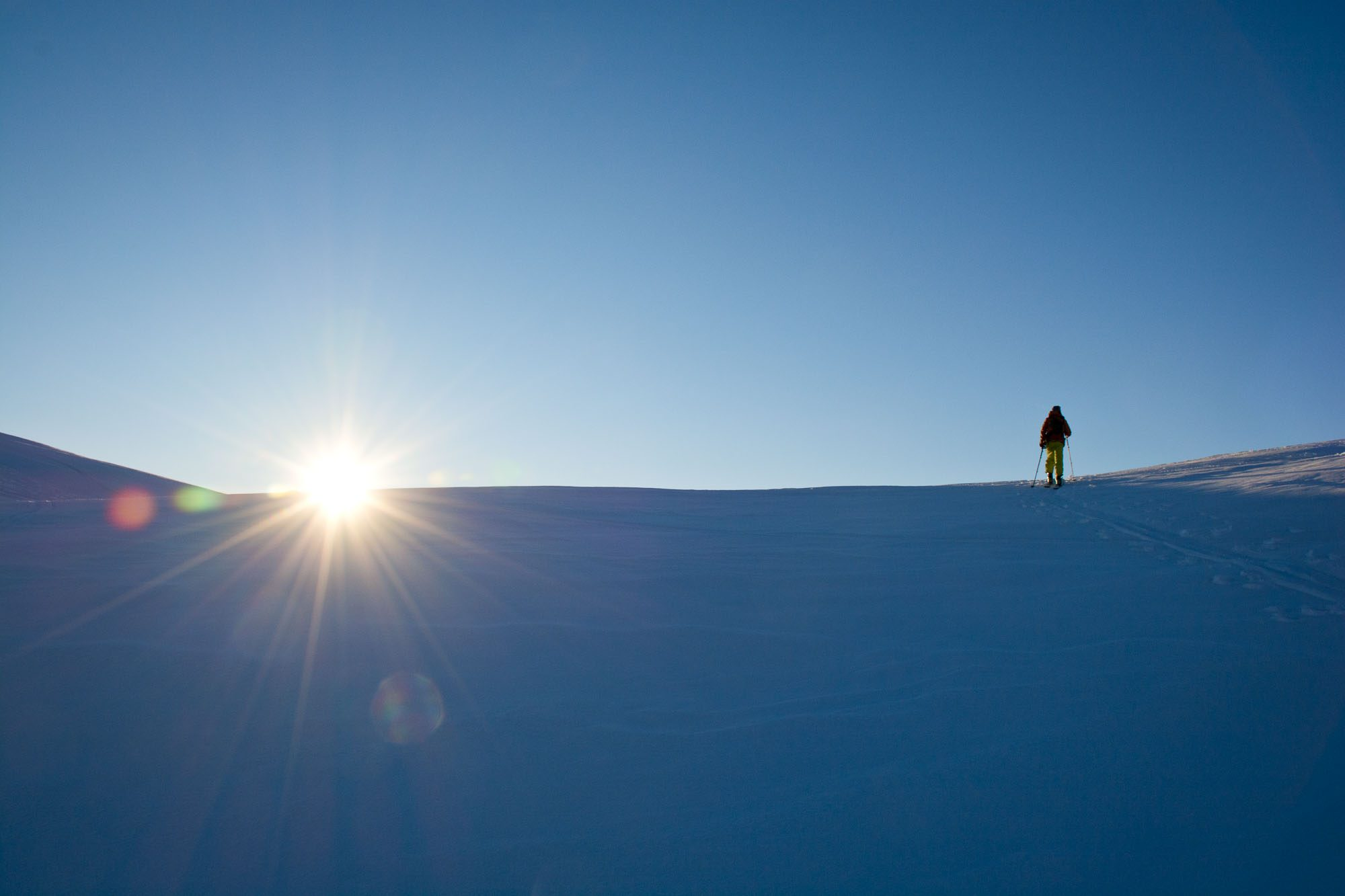 Ski touring into the sunset from La Masse to Le Chatelard