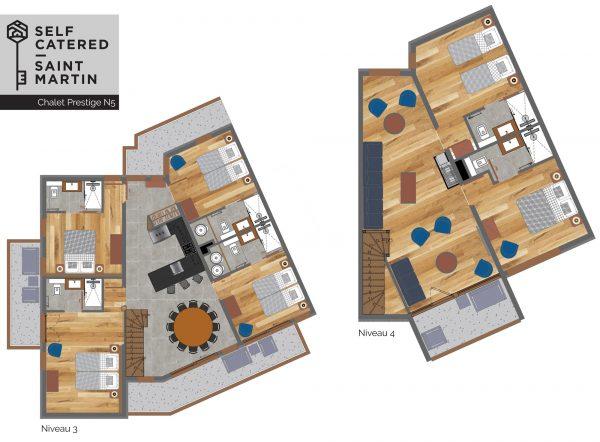 Floorplans - Trolles Prestige 5 - Large luxury ski apartment 3 Valleys