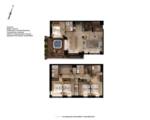 Floor plans of luxury Chalets Cocoon Val Thorens