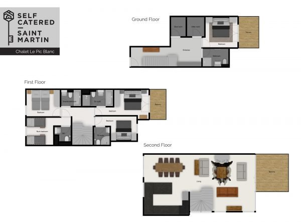 Chalet layout - Le Pic Blanc - Self-catered chalet in Saint Martin
