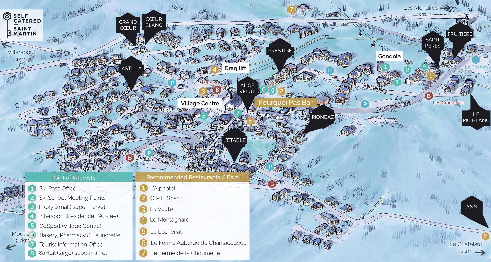 Village resort map of St Martin de Belleville (3 Valleys) showing all ski chalets and apartments of Self Catered - Saint Martin