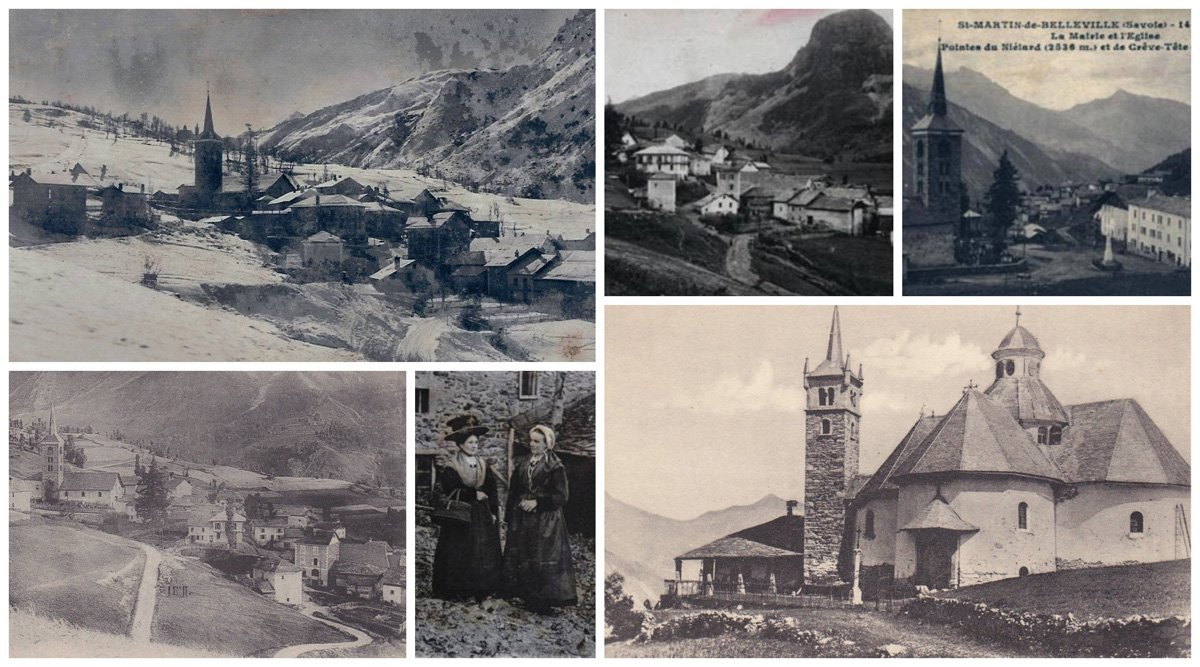Old black and white pictures showing the history of St Martin de Belleville