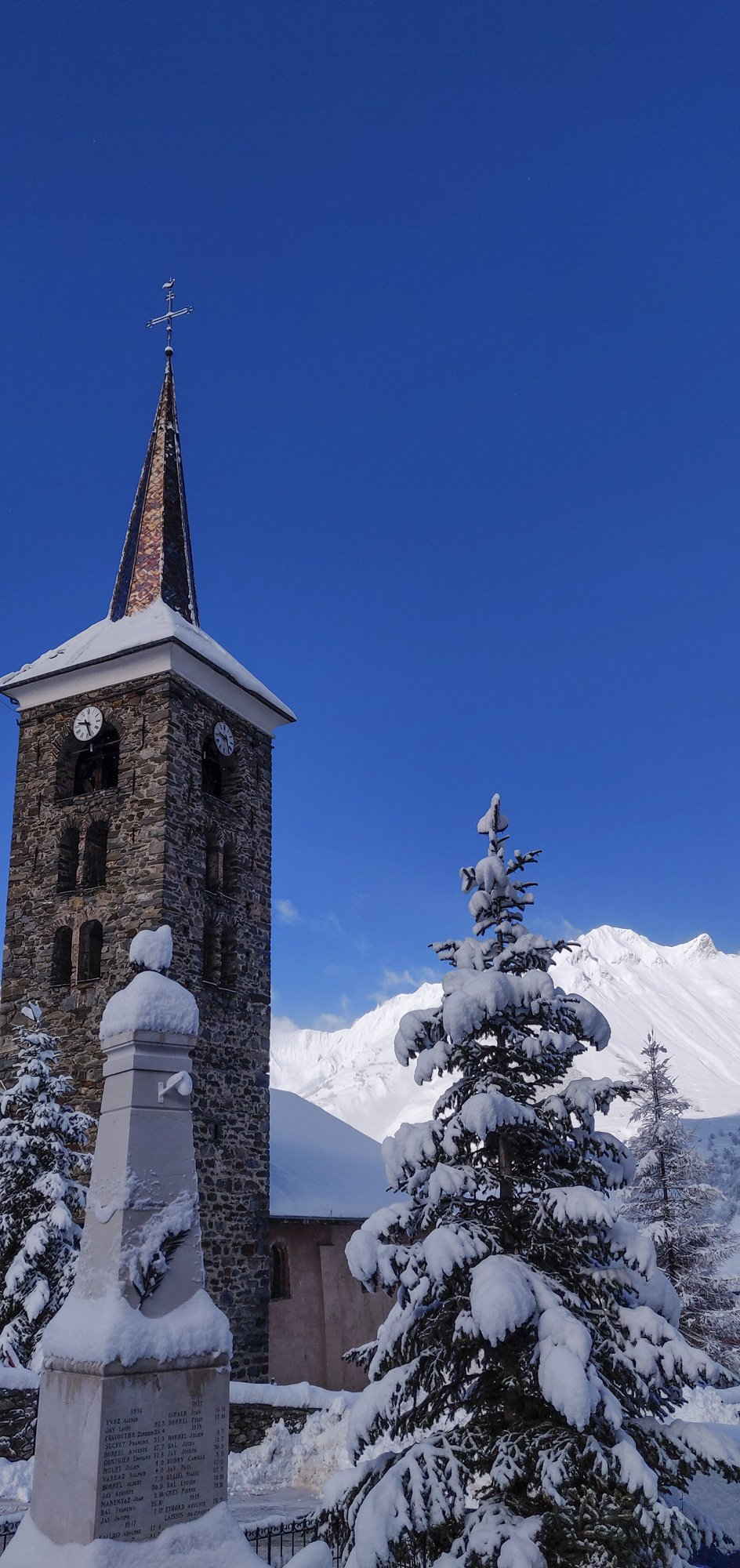 St Martin's main church covered in snow