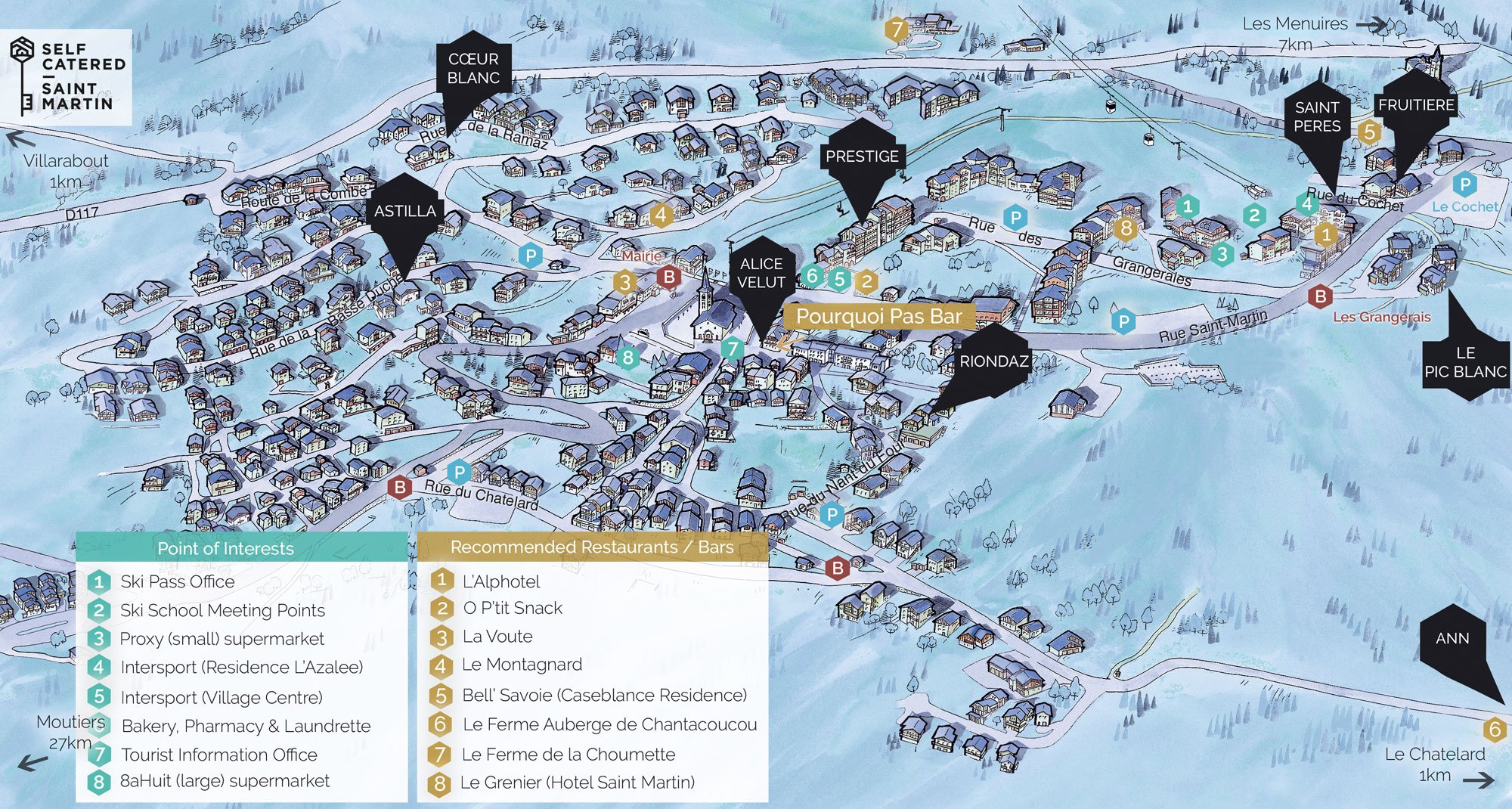 Saint Martin de Belleville resort map with self-catered chalets